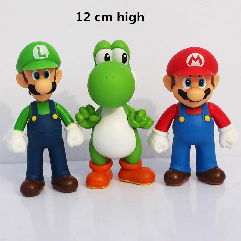 Super mario bros mini mario Luigi yoshi dinosaur mushroom one piece figure action toy PVC figure game mario model doll 4pcs lot super mario bros luigi mario action figure pvc toy doll figures toys for children 13cm