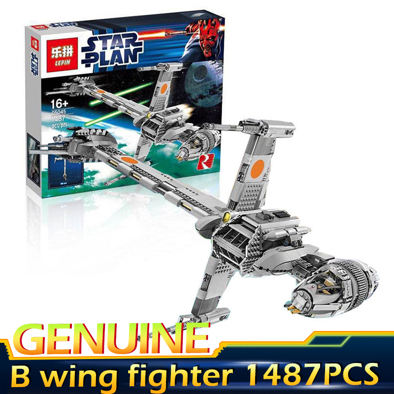 Lepin 05045 1487Pcs Genuine Star War Series The B-wing  Building Blocks Bricks Educational Toys Compatible legoed 10227 lepin 22001 pirate ship imperial warships model building block briks toys gift 1717pcs compatible legoed 10210