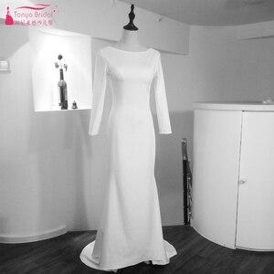 Image 3 - Marfim sereia simples vestidos de casamento 2021 moda jóia manga longa sem costas nupcial praia boêmia vestidos zw007