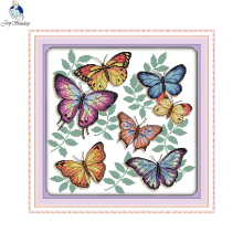 Joy sunday animals style The colorful butterflies handwork embroidery patterns cross stitch printed on canvas painting