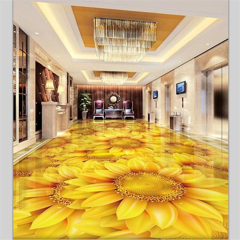 מדבקת רצפה תלת מימדית סלון פרחים צהובים