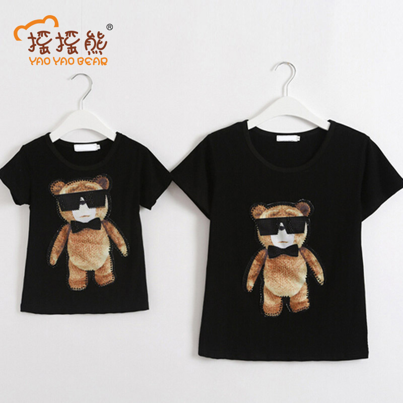 YAOYAO BEAR Cotton Father Son Short Sleeve T-shirt Fashion Cool Bear Pattern Summer Family Look Shirts Mother Daughter Clothes