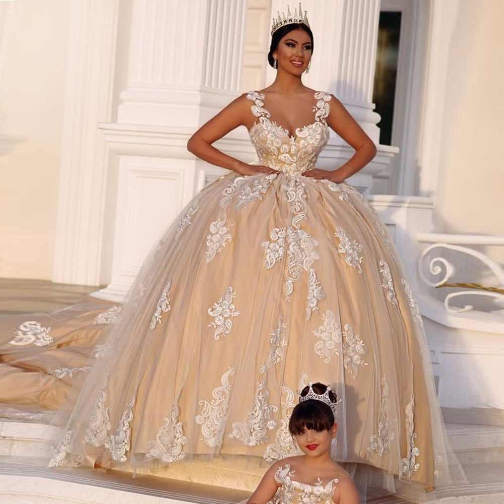 709a768ffdf Халат де mariée 2018 Ливан Пышные свадебные Платья для женщин специальные  Кружево аппликации длинным шлейфом Сексуальная