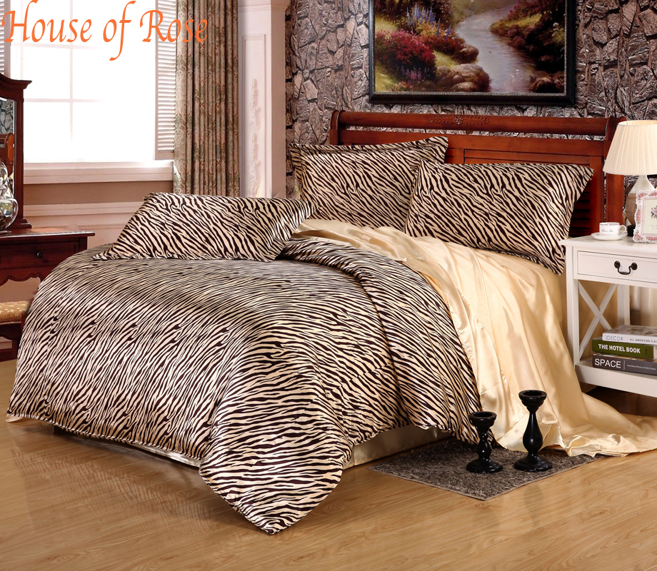 Gorgeous Black Gold Zebra Stripe Silk Bedding Set4pc 30