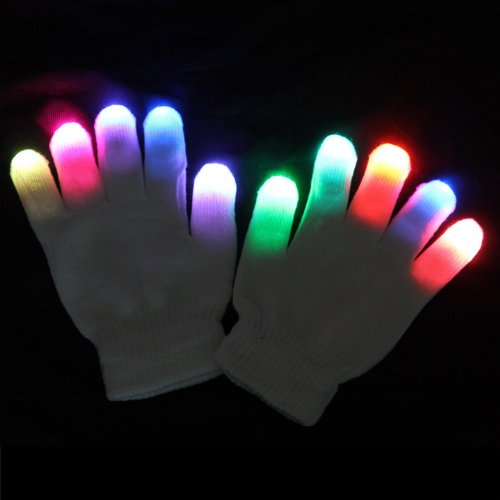 RCtown  6 Modes Multicolor Raver Gloves  Red+Green+Blue LED Lights In Each Fingertip  Novelties For Parties Zk 15