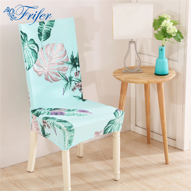 Universal Home Dining Chair Cover Spandex Removable Slipcovers Stretch Elastic Tropical Green Plants Printed Covers
