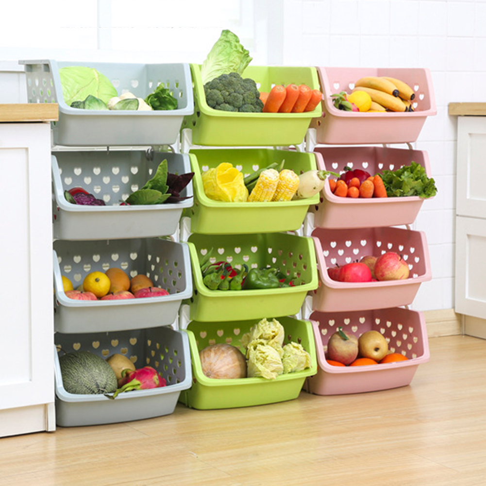 Shelf Storage-Box Kitchen-Organizer Vegetable Basket Fruit Single-Deck Pp High-Quality