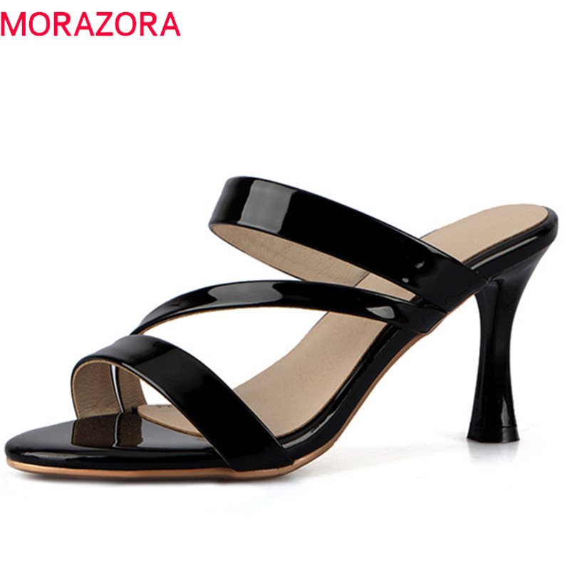 MORAZORA 2019 big size 40 patent leather women sandals hollow out summer shoes stiletto heels party