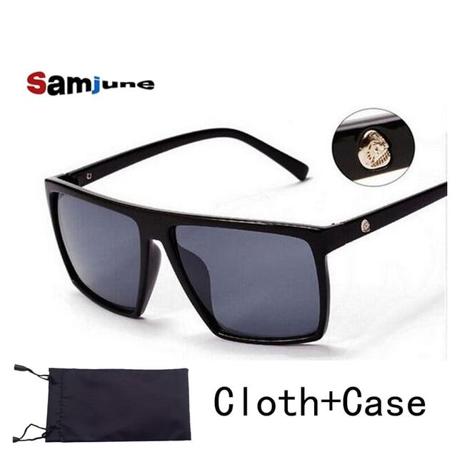 Marque rétro Steampunk cadre CRÂNE Carré mâle logo lunettes de Soleil Hommes  tous les Noir surdimensionné 891a1969cca5