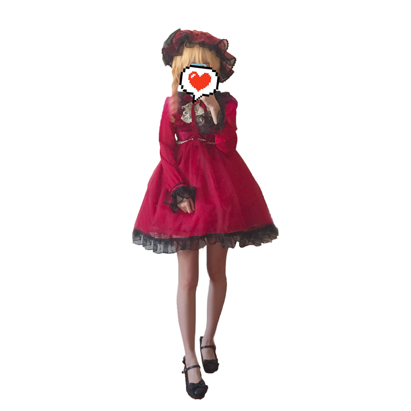 Touhou Project Cosplay Flandre Scarlet Costume dress+hat