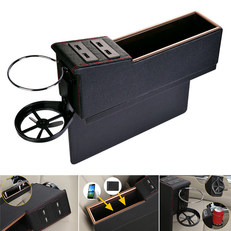US $34 06 20% OFF|Luxury Car Seat Storage Box Cars Seat Slot Gap Storage  Boxes Car Interior Supplies Modified Storage Boxes with USB Charger Port-in