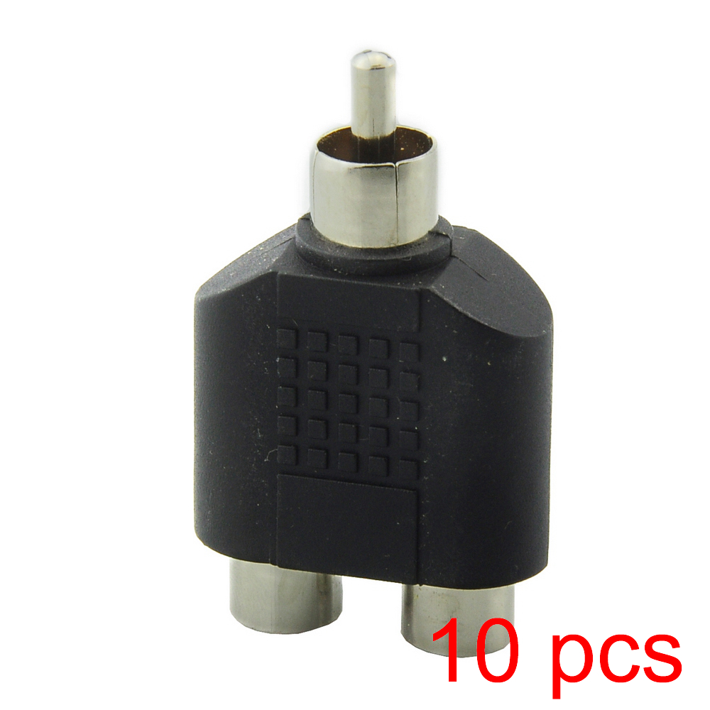10x 1 RCA Male to 2 RCA Female Connector Y Type Splitter Adapter AV Audio Plug imc hot 5pcs rca av audio y splitter 1 male to 2 female plug adapter new