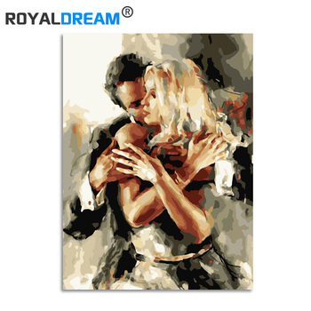 ROYALDREAM Couple Dance DIY Framed Oil Painting By Numbers Flowers Pictures Canvas Painting For Living Room Wall Art Home Decor