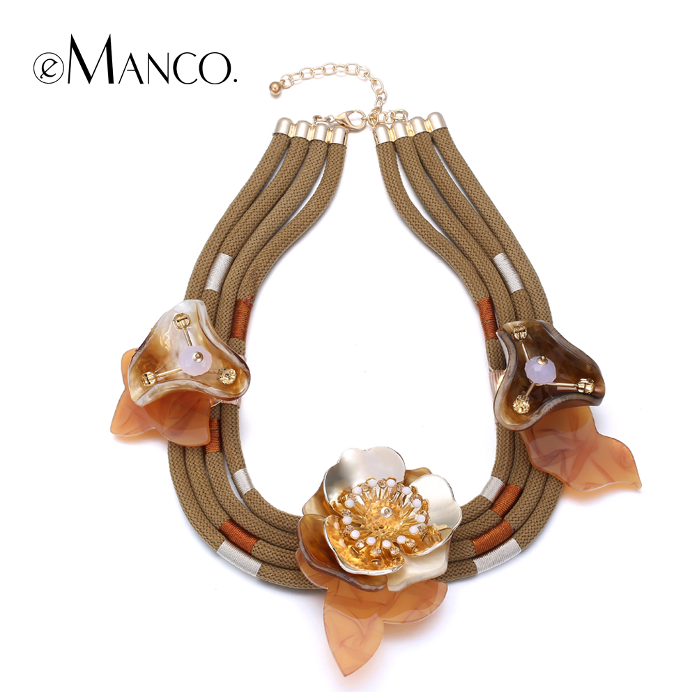eManco coffee acrylic flower choker necklace alloy crystal rope necklaces for women rhinestone jewelry bijoux colier femme rhinestone alloy star necklace