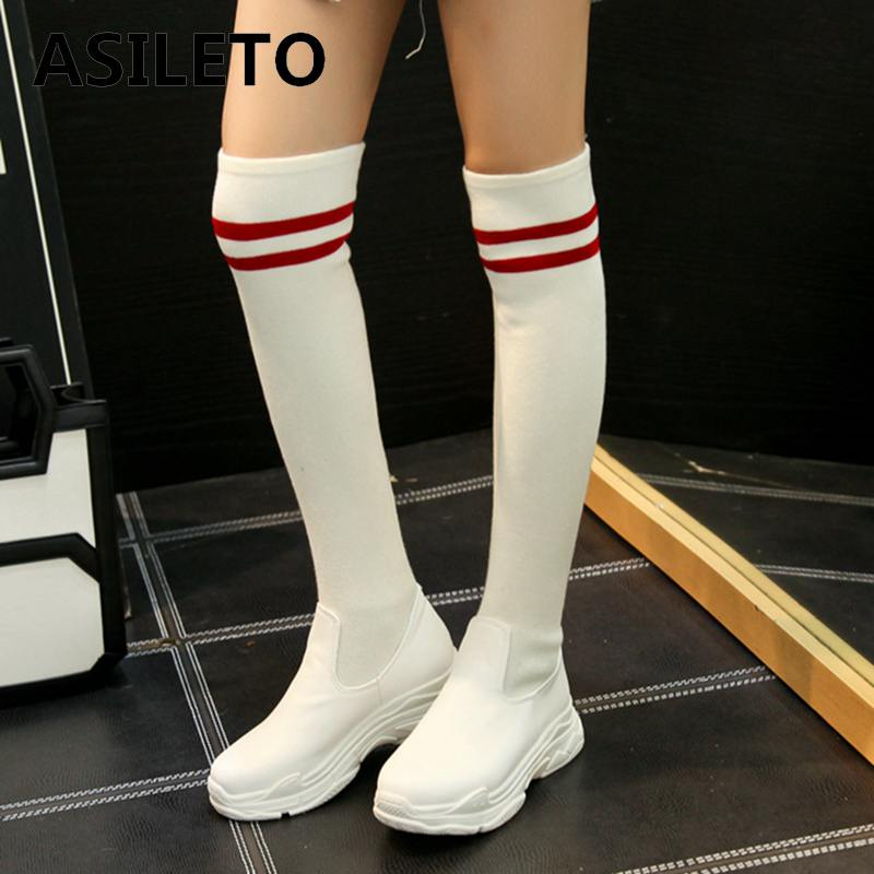 Detail Feedback Questions about ASILETO Women Sock Boots 2018 brand Stretch  Fabric Shoes woman Over the Knee Boots Women Boots thigh high boots  footwear ... a14e0edf6e95