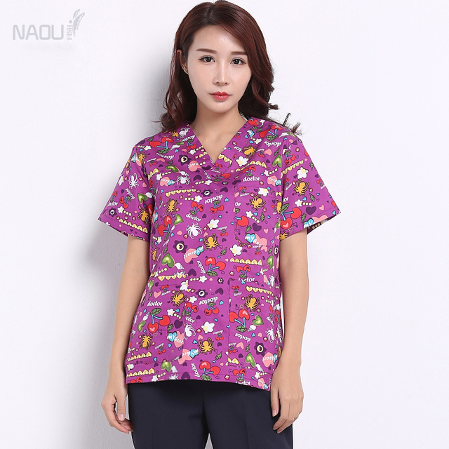 a4c842aa0e7 Purple Print Scrub Top - 100% Cotton Flexible Cartoon V-Neck Medical  Clothing Hospital Scrub Top Dental Charity Workwear Tops