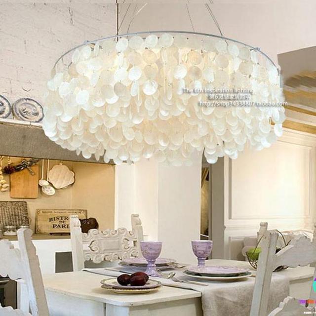 Mediterranean Style Shell Light Pendientes Garden Simple Round Shell  Pendant Lamp Living Room Dining Room Suspension