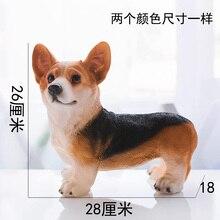 Imitation Resin Animal Sculpture Craft Corgi Dog Living Room TV Cabinet Home Decoration