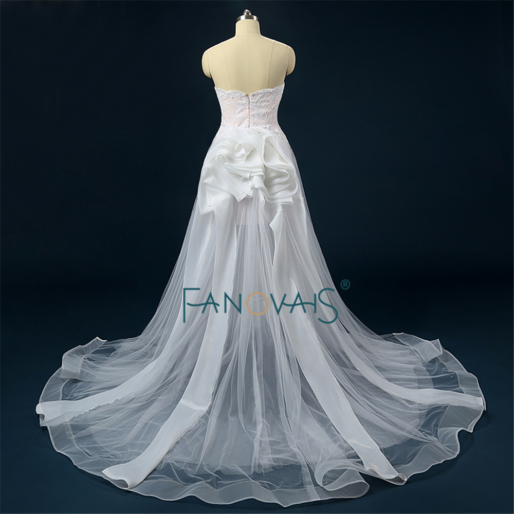 Amazing Two Pieces Wedding Gown with Detachable Skirt Train Real ...