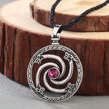 CHENGXUN Norse viking dragons pendant Necklace Men Red Stone Amulet Slavic Ancient Animal Runes Original Jewelry Talisman(China)