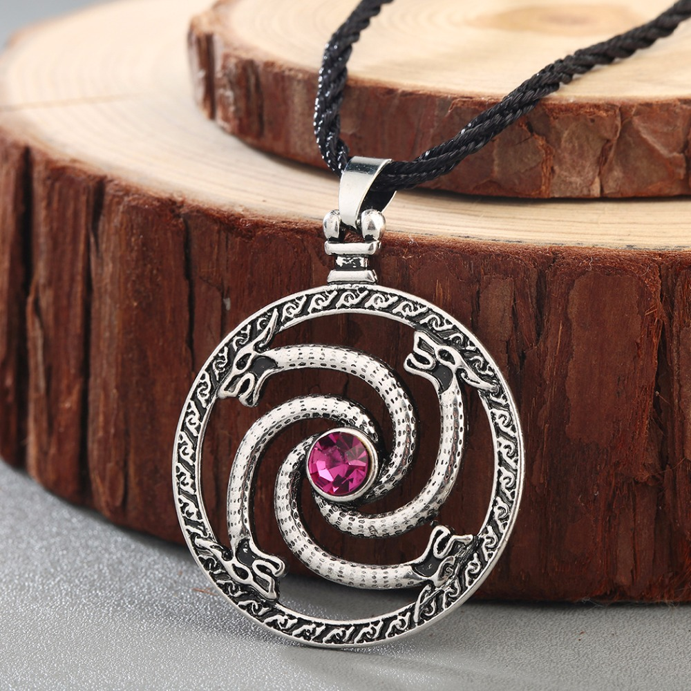 CHENGXUN Norse Viking Dragons Pendant Necklace Men Red Stone Amulet Slavic Ancient Animal Runes Original Jewelry Talisman