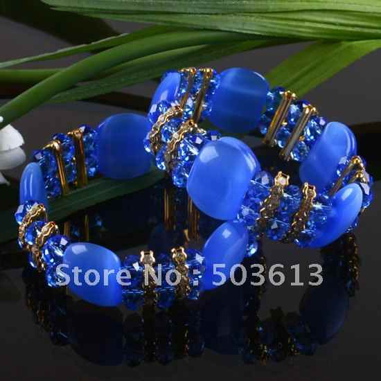 One piece fashion Blue Cat's Eye&Crystal Bead Bracelet Bangle gcb1145