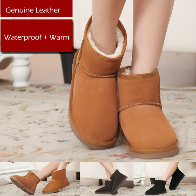 Genuine Leather Warm  Women Winter Snow Boots Black/Brown/Chocolate