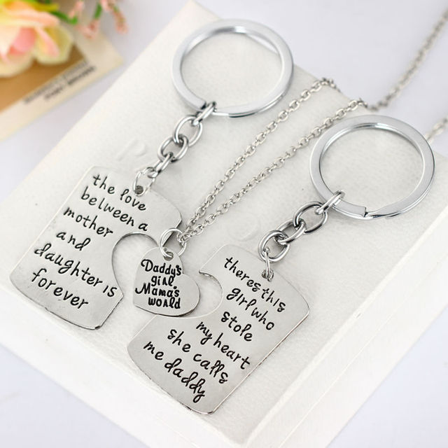 3PC Family Love Heart Daddy Mama Mother Girl Pendent