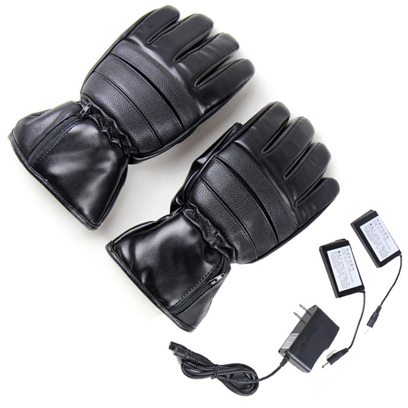 Thermal Electric Warm Waterproof Heated Gloves LI Battery Powered Leather Motorcycle Hunting Ski Gloves Winter Hand Warmer