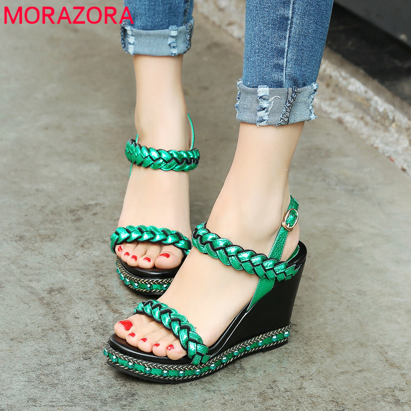 MORAZORA 2019 top quality genuine leather women sandals buckle summer shoes elegant wedge platform shoes woman