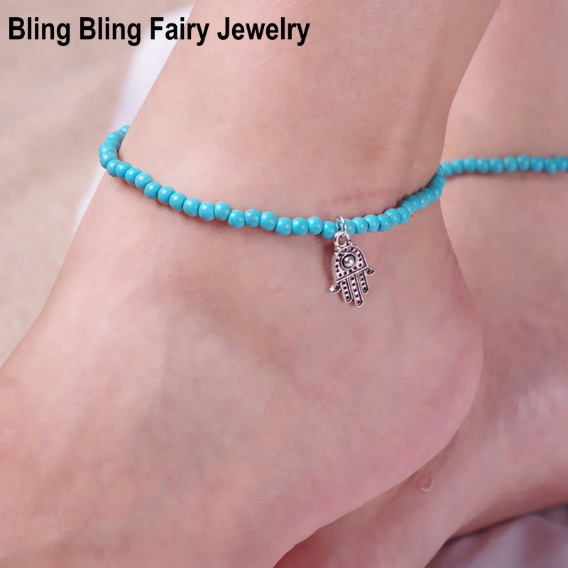 New Delicate Retro Hamsa Hand Charm Turquoise Elastic Anklet Bracelet Barefoot Sandal Foot Jewelry, Free Shipping