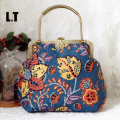 Handmade Retro Floral Printing Handbag Vintage Hippie Boho Bohemian Chic Tribal Ethnic Folk Metal Frame Blue Shoulder Bag