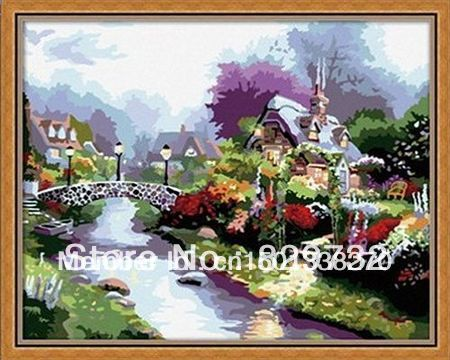 JIUJIU DIY digital oil painting Free shipping arcylic paint 40X50cm Steady Water paint by number