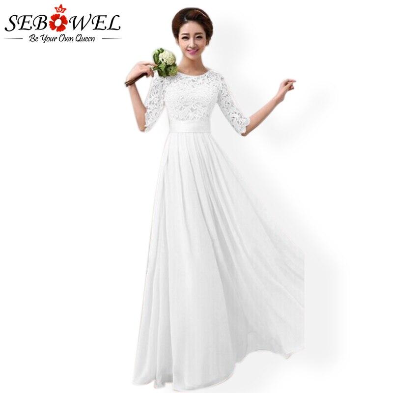 SEBOWEL Autumn Elegant Wedding White Floral Lace Long Party Dress Women Hollow Out Half Sleeve Chiffon Floor Length Dresses