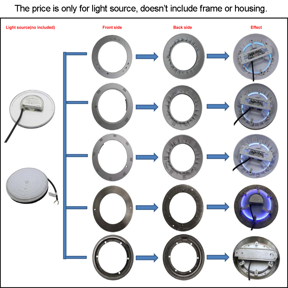 Image 5 - Resin Filled PAR56 Replacement 18W 12V Swimming Pool Light Piscinas 24W 30W 35W 42W RGB Synchrounous warm white free shipping-in LED Underwater Lights from Lights & Lighting