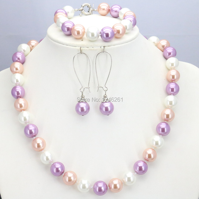Hot Sale 10mm Glass Pearl Round Beads Women Girls Necklace Bracelet Earrings Sets Christmas Gifts Accessories DIY Jewelry Making