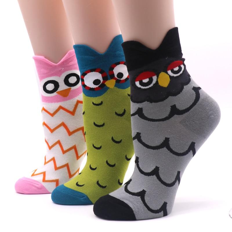 1Pair 3D Cartoon Socks Women Ladies Funny Non-Slip Socks Cotton Blend 3D Printed Socks Female Casual Character Calcetines Mujer