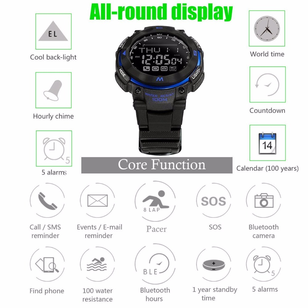Sport Smart Watch 100M Waterproof Bluetooth 4.0 1 Year Standby Time Wearable Devices Android Wear for huawei Samsung Smartphone