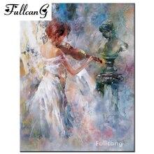 FULLCANG square mosaic diamond embroidery beauty violin music diy 5d diamond painting cross stitch full diamond pattern F077