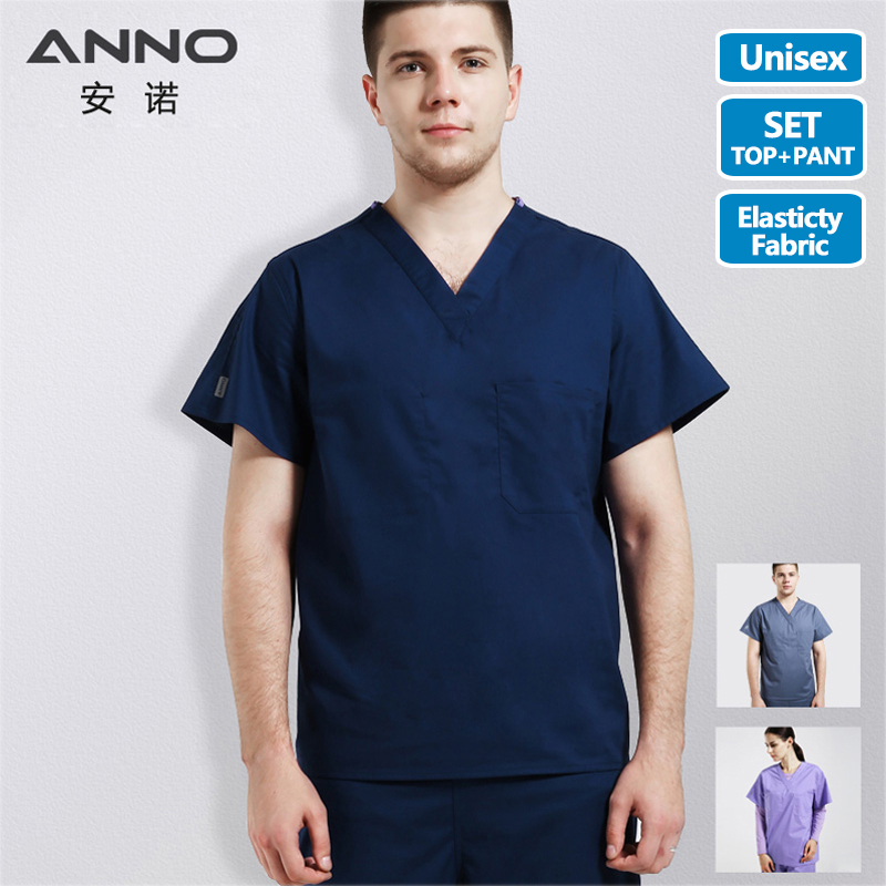 ANNO Medical Body Scrubs Female Male Medical Cloth Nurse Doctor Uniform Surgical Clothing Nursing Work Wear Dentistry