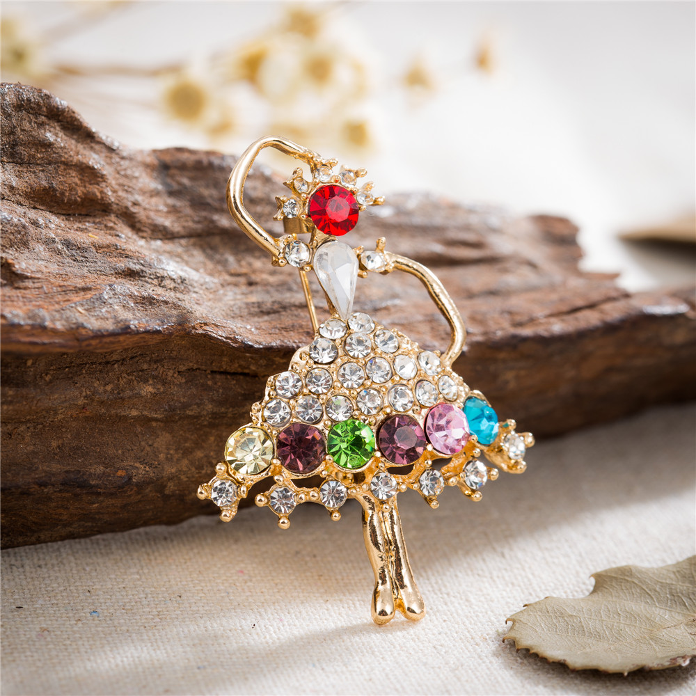 Amourjoux Pretty Dancing Girl With Colorful Rhinestone Brooches Pin For  Women Gold Color Alloy Pins Brooch
