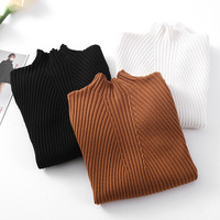 2015 Turtleneck Knitted Sweater Pullover Female All Match Thermal Basic Female Long Sleeve Slim Shirt