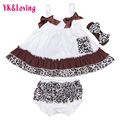 Ruffle Colorful Leopard Baby Bloomers Sets Baby Girl Clothes Sleeveless Swing Toddler Girl's Clothes Set Includes Top & Bottoms