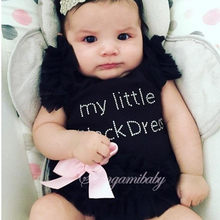 Newborn Baby Girl Black Romper Dress Tops Coveralls Baby Romper For Girls Clothes Pajamas Baby Jumpsuits My Little Girl Clothing(China)
