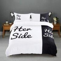 Schwarz & weiß Ihre Seite Seiner Seite bettwäsche-sets Königin/König Größe doppel bett 3 stücke/4 stücke bett Leinen Paare Bettbezug-set