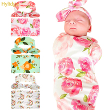 Hylidge новорожденных пеленка для сна муслиновая пеленка заячьи ушки повязка на голову набор Печать Цветочные Детские одеяла мягкая пеленка полотенце