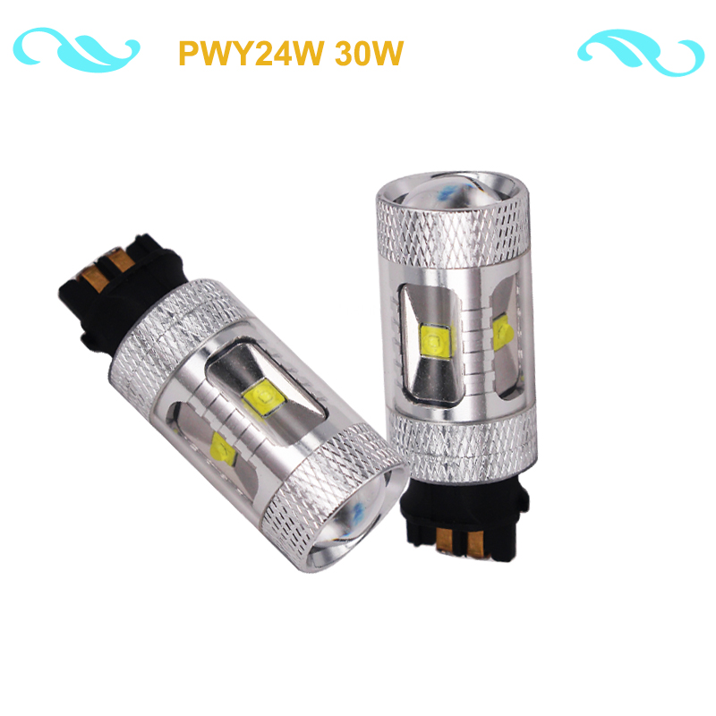 Eseastar 2Pcs White Canbus PWY24W LED Bulbs For A3 A4 A5 Q3 VW MK7 Golf CC Front Lights F30 3 Series DRL DC12V