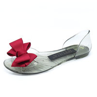 SexeMara 2017 Summer Crystal Jelly Shoes Female Sweet Open Toe Flat Heel Casual Beach Sandals Flats