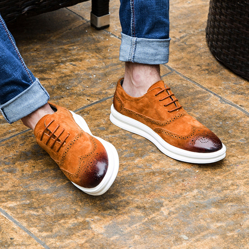 British Style Bullock Business Men Oxfords Shoes Fashion Genuine Leather Lace-up Brogues Shoes Casual Breathable Flats Black 2A цены онлайн