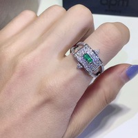 New 2019 luxury brand green zircon ring Nordic style simple rectangular 925 silver ring for women